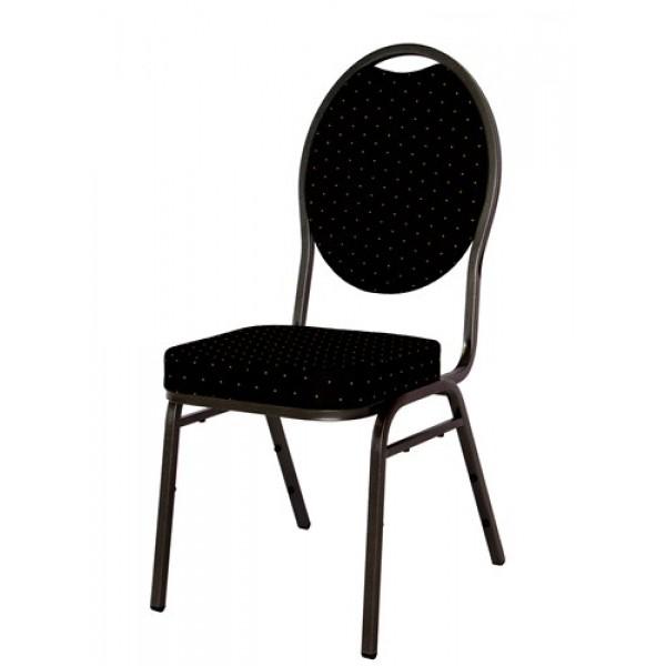 Zwarte stoel met stoffen zitting