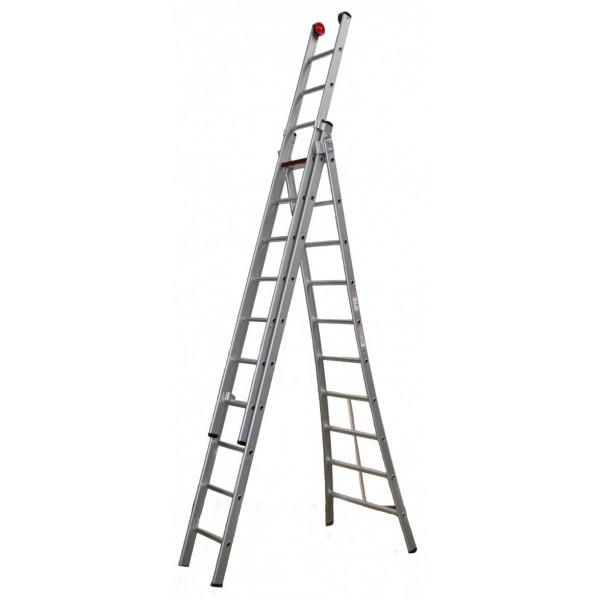Alu-ladder 3 x 8 sporten, van 2,25 m tot 5 m